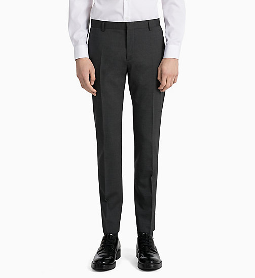 CALVINKLEIN Slim Wool Stretch Trousers - ASPHALT - CALVIN KLEIN CLOTHES - detail image 1