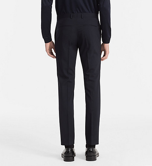 CALVINKLEIN Slim Wool Stretch Trousers - MIDNIGHT NAVY - CALVIN KLEIN TROUSERS & SHORTS - detail image 1