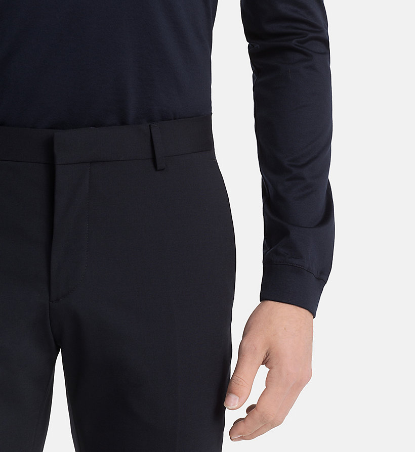 CALVINKLEIN Slim Wool Stretch Trousers - ASPHALT - CALVIN KLEIN MEN - detail image 2