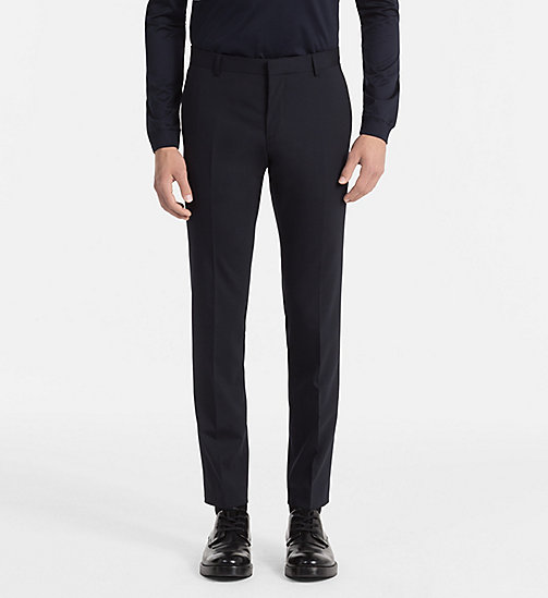 CALVIN KLEIN Slim Wool Stretch Trousers - MIDNIGHT NAVY - CALVIN KLEIN TROUSERS & SHORTS - main image