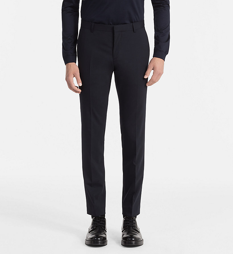CALVINKLEIN Slim Wool Stretch Trousers - ASPHALT - CALVIN KLEIN MEN - main image