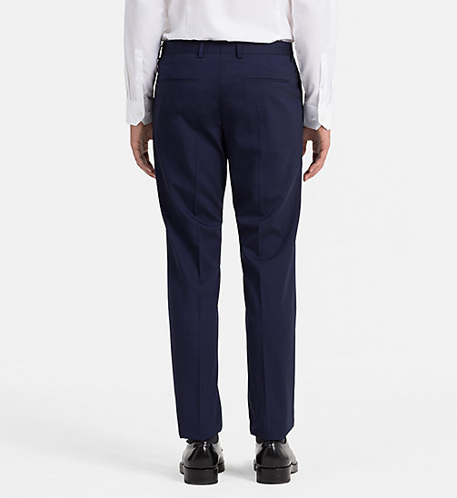 CALVINKLEIN Slim Wool Stretch Trousers - DEEP INK - CALVIN KLEIN TROUSERS & SHORTS - detail image 1