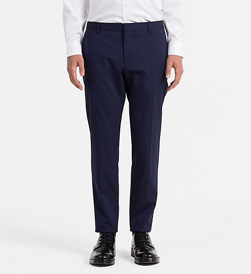 CALVIN KLEIN Slim Wool Stretch Trousers - DEEP INK - CALVIN KLEIN TROUSERS & SHORTS - main image