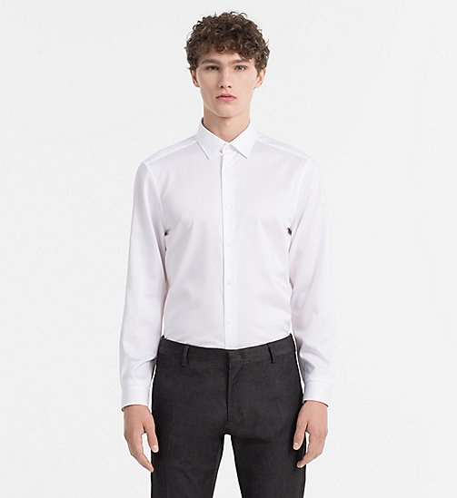 CALVINKLEIN Fitted Cotton Twill Shirt - PERFECT WHITE - CALVIN KLEIN SHIRTS - main image