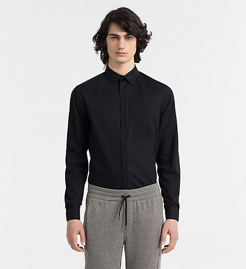 CALVIN KLEIN Fitted Stretch Poplin Shirt - PERFECT BLACK - CALVIN KLEIN CLOTHES - main image