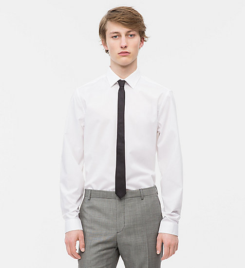 CALVINKLEIN Fitted Stretch Poplin Shirt - PERFECT WHITE - CALVIN KLEIN MODERN MENSWEAR - main image