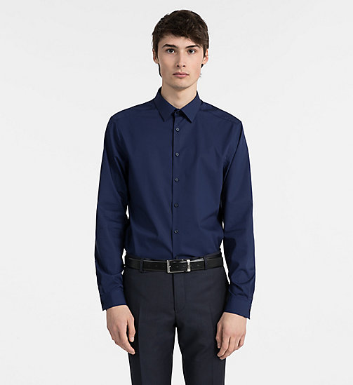 CALVINKLEIN Fitted Stretch Poplin Shirt - INK BLUE 19-3933 - CALVIN KLEIN GET SMART - detail image 1