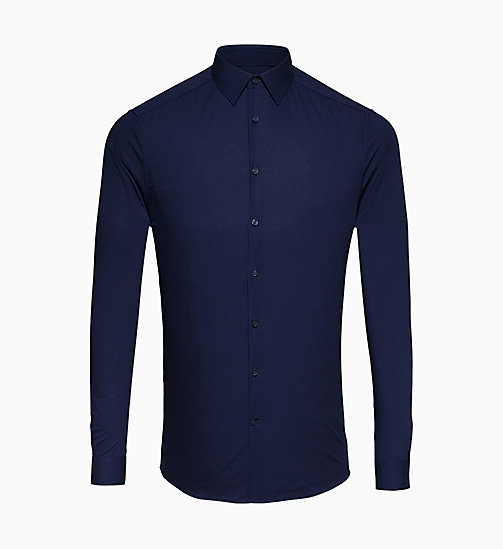 CALVINKLEIN Fitted Stretch Poplin Shirt - INK BLUE 19-3933 - CALVIN KLEIN GET SMART - main image