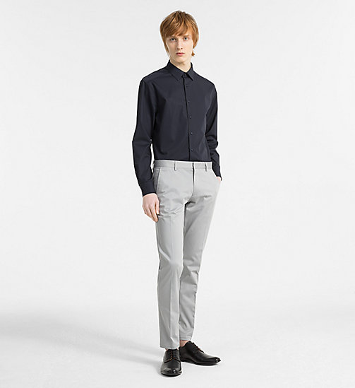 CALVINKLEIN Fitted Stretch Poplin Shirt - TRUE NAVY - CALVIN KLEIN CLOTHES - detail image 1