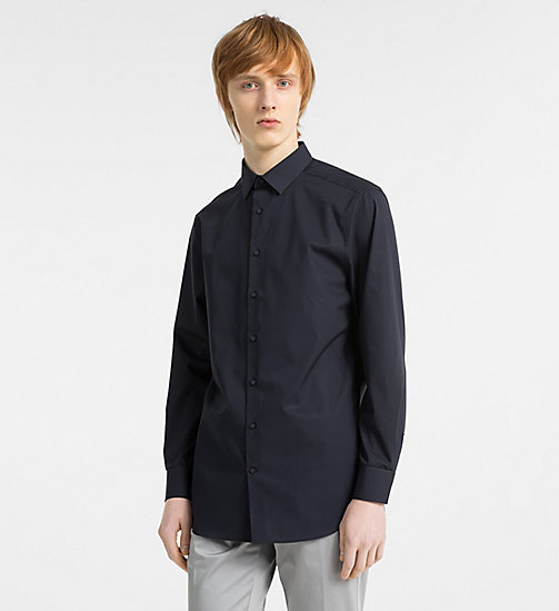 CALVINKLEIN Fitted Stretch Poplin Shirt - TRUE NAVY - CALVIN KLEIN CLOTHES - main image