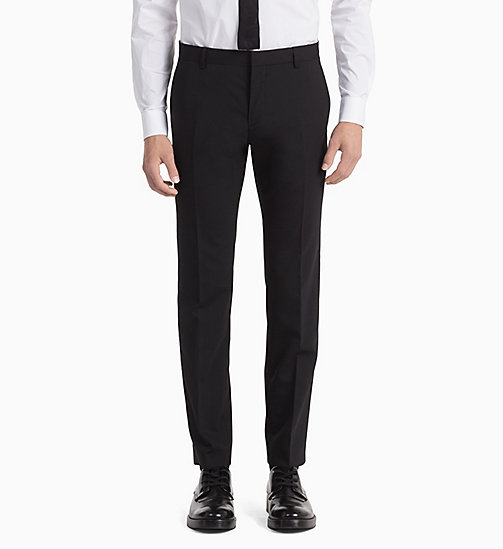 CALVINKLEIN Fitted Wool Stretch Trousers - PERFECT BLACK - CALVIN KLEIN TROUSERS & SHORTS - detail image 1