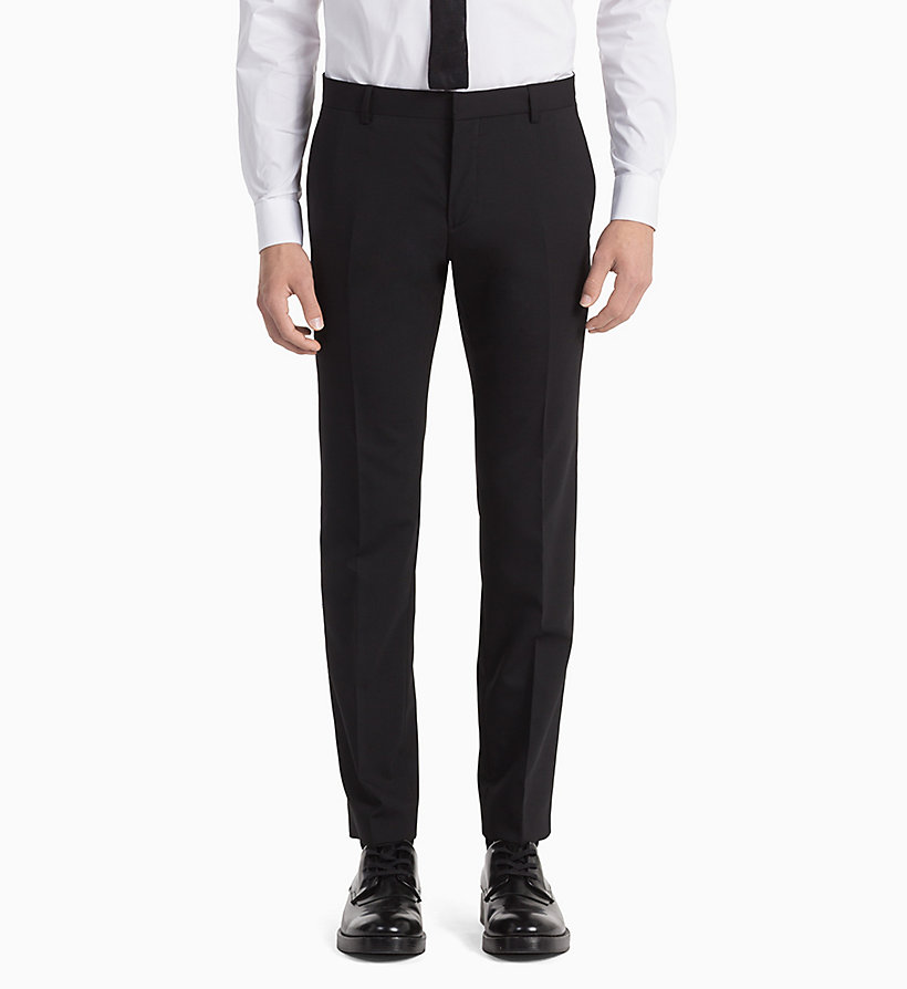 CALVIN KLEIN Fitted Wool Stretch Trousers - MIDNIGHT NAVY - CALVIN KLEIN MEN - detail image 1
