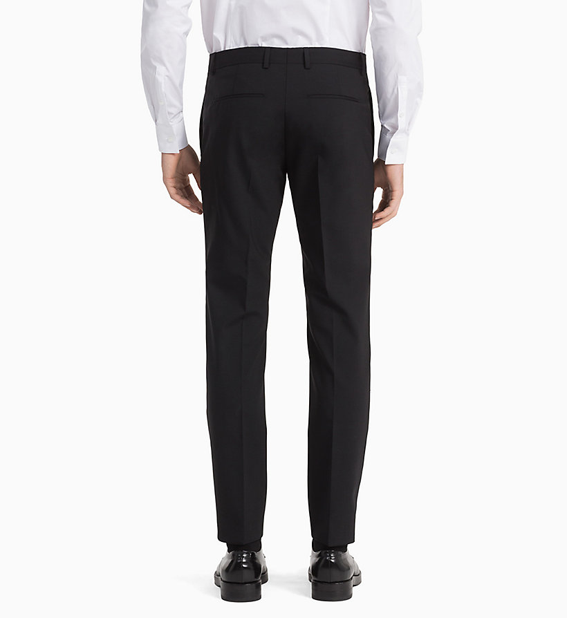 CALVINKLEIN Fitted Wool Stretch Trousers - MIDNIGHT NAVY - CALVIN KLEIN MEN - detail image 2