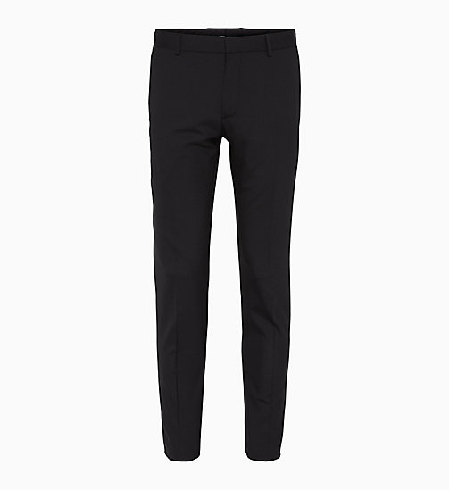 CALVIN KLEIN Fitted Wool Stretch Trousers - PERFECT BLACK - CALVIN KLEIN TROUSERS & SHORTS - main image