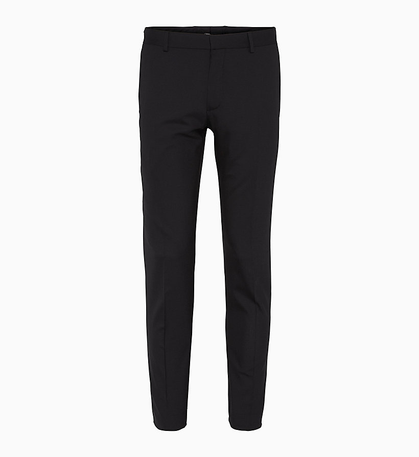 CALVINKLEIN Fitted Wool Stretch Trousers - MIDNIGHT NAVY - CALVIN KLEIN MEN - main image