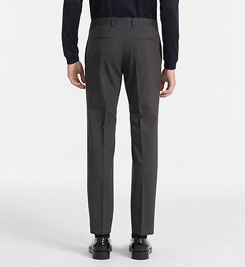 CALVINKLEIN Fitted Wool Stretch Trousers - ASPHALT - CALVIN KLEIN TROUSERS & SHORTS - detail image 1