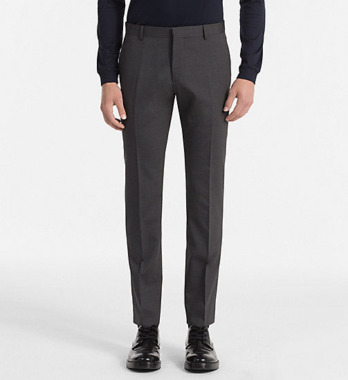 CALVIN KLEIN Fitted Wool Stretch Trousers - ASPHALT - CALVIN KLEIN TROUSERS & SHORTS - main image