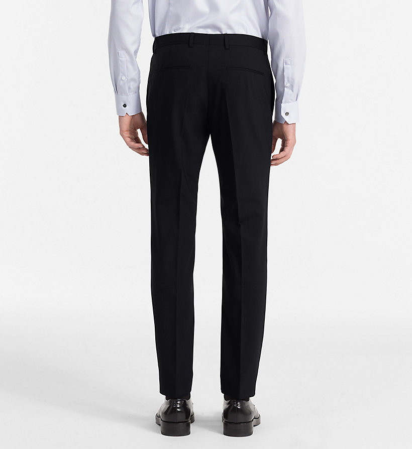 CALVINKLEIN Fitted Wool Stretch Trousers - ASPHALT - CALVIN KLEIN MEN - detail image 1