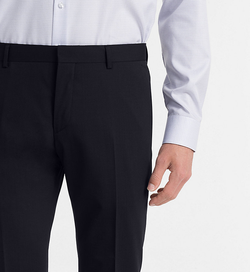 CALVIN KLEIN Fitted Wool Stretch Trousers - ASPHALT - CALVIN KLEIN MEN - detail image 2