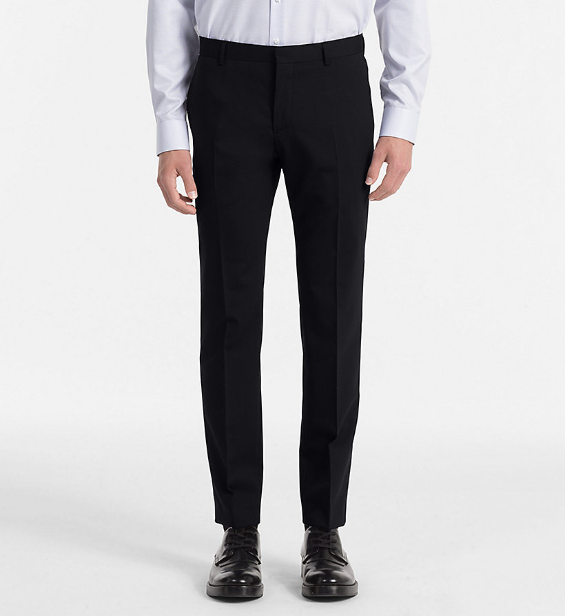 CALVIN KLEIN Fitted Wool Stretch Trousers - ASPHALT - CALVIN KLEIN MEN - main image