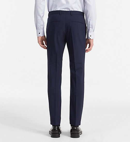 CALVINKLEIN Fitted Wool Stretch Trousers - DEEP INK - CALVIN KLEIN TROUSERS & SHORTS - detail image 1