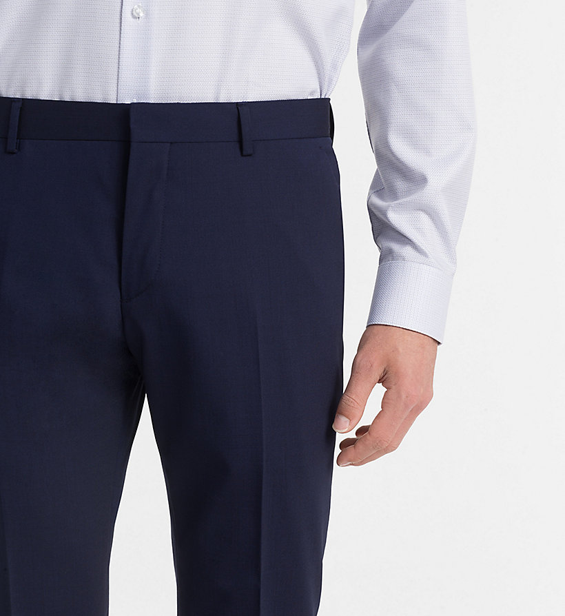 CALVIN KLEIN Fitted Wool Stretch Trousers - PERFECT BLACK - CALVIN KLEIN MEN - detail image 2