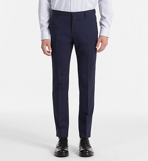CALVIN KLEIN Fitted Wool Stretch Trousers - DEEP INK - CALVIN KLEIN TROUSERS & SHORTS - main image