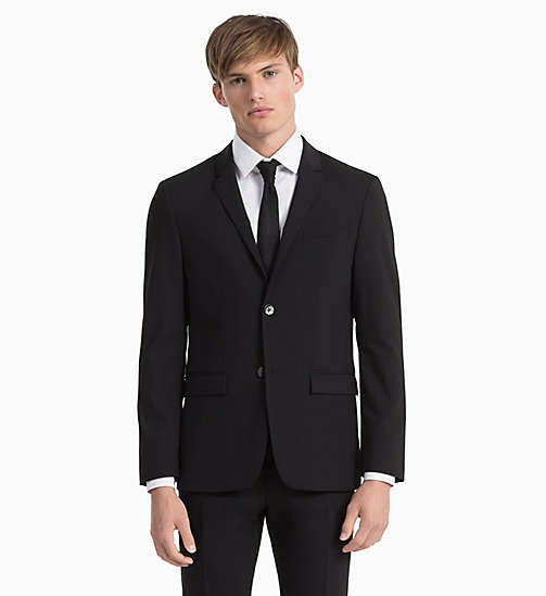CALVINKLEIN Fitted Wool Stretch Blazer - PERFECT BLACK - CALVIN KLEIN BLAZERS & SUITS - detail image 1
