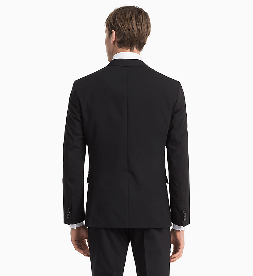 CALVIN KLEIN Fitted Wool Stretch Blazer - MIDNIGHT NAVY - CALVIN KLEIN MEN - detail image 2