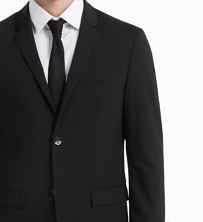 CALVIN KLEIN Fitted Wool Stretch Blazer - MIDNIGHT NAVY - CALVIN KLEIN MEN - detail image 3