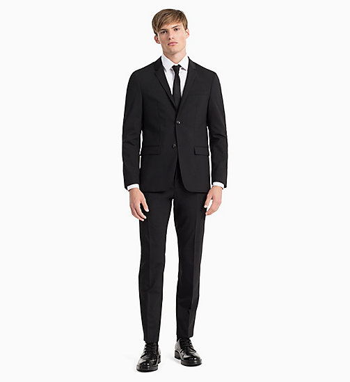 CALVIN KLEIN Fitted Wool Stretch Blazer - PERFECT BLACK - CALVIN KLEIN BLAZERS & SUITS - detail image 1