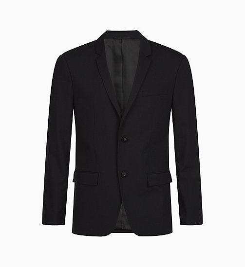 CALVIN KLEIN Fitted Wool Stretch Blazer - PERFECT BLACK - CALVIN KLEIN BLAZERS & SUITS - main image