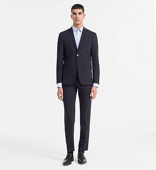 CALVIN KLEIN Fitted Wool Stretch Blazer - MIDNIGHT NAVY - CALVIN KLEIN MODERN MENSWEAR - detail image 1