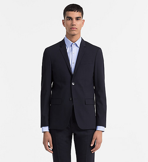 CALVIN KLEIN Fitted Wool Stretch Blazer - MIDNIGHT NAVY - CALVIN KLEIN BLAZERS & SUITS - main image