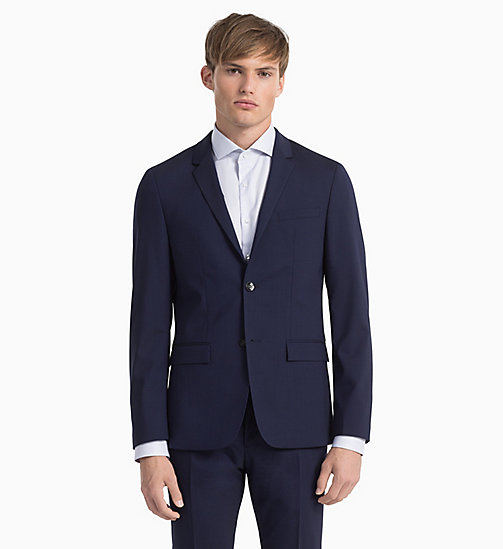 CALVINKLEIN Fitted Wool Stretch Blazer - DEEP INK - CALVIN KLEIN BLAZERS & SUITS - detail image 1