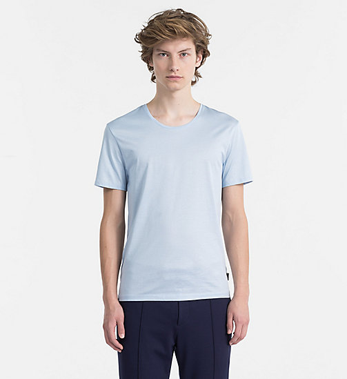 CALVINKLEIN Mercerised Cotton T-shirt - CERULEAN - CALVIN KLEIN BACK IN BUSINESS - main image