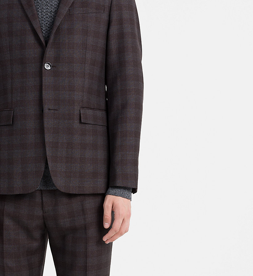 CALVINKLEIN Fitted Wool Check Suit - ASPHALT - CALVIN KLEIN SUITS - detail image 4