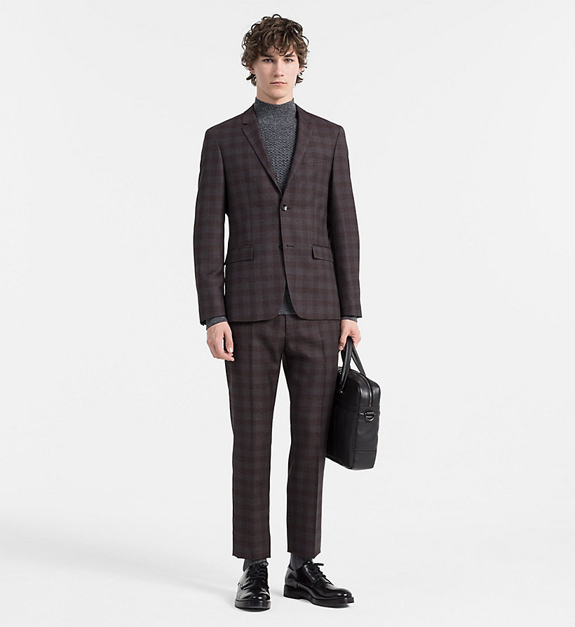 CALVINKLEIN Fitted Wool Check Suit - ASPHALT - CALVIN KLEIN SUITS - main image
