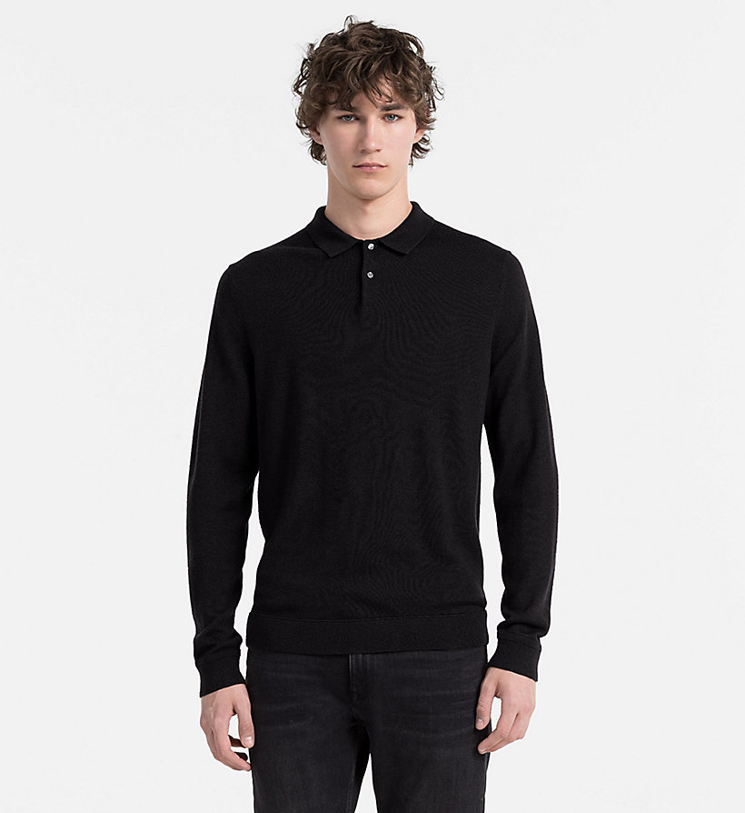 CALVINKLEIN Wool Silk Knit Polo - FIRED BRICK - CALVIN KLEIN JUMPERS - main image