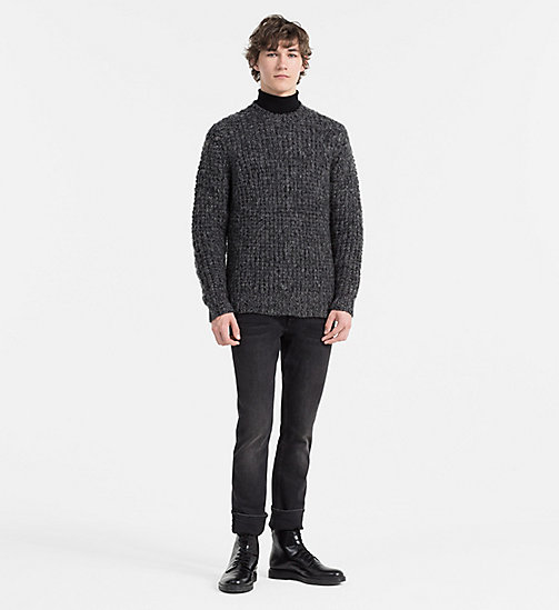 CALVINKLEIN Wool Chunky Knit Sweater - MID GREY HEATHER - CALVIN KLEIN CLOTHES - detail image 1