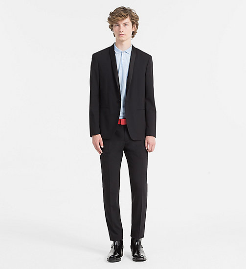 CALVINKLEIN Fitted Wool Stretch Tuxedo Blazer - PERFECT BLACK - CALVIN KLEIN BLAZERS & SUITS - detail image 1