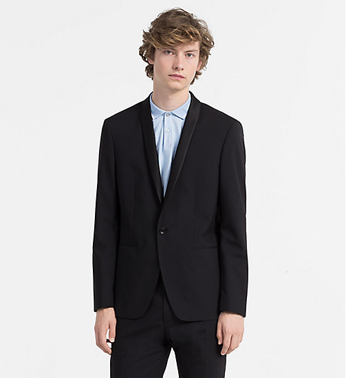 CALVINKLEIN Fitted Wool Stretch Tuxedo Blazer - PERFECT BLACK - CALVIN KLEIN BLAZERS & SUITS - main image