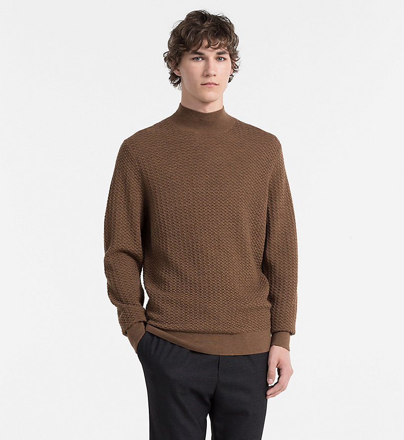 CALVINKLEIN Textured Wool Sweater - PERFECT BLACK - CALVIN KLEIN JUMPERS - main image