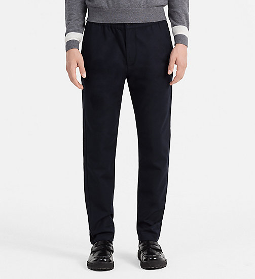 CALVINKLEIN Fitted Cotton Dobby Trousers - SKY CAPTAIN - CALVIN KLEIN TROUSERS - main image