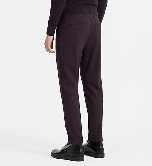 CALVINKLEIN Slim Wool Stretch Trousers - PLUM PERFECT - CALVIN KLEIN TROUSERS & SHORTS - detail image 1