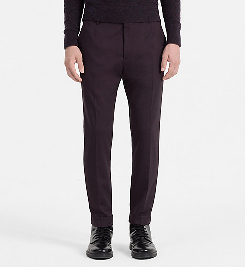 CALVINKLEIN Slim Wool Stretch Trousers - PLUM PERFECT - CALVIN KLEIN TROUSERS & SHORTS - main image