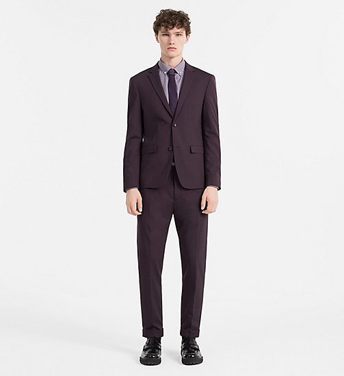 CALVINKLEIN Slim Wool Stretch Blazer - PLUM PERFECT - CALVIN KLEIN BLAZERS & SUITS - detail image 1