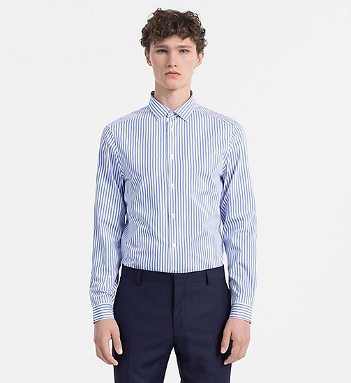 CALVINKLEIN Chemise slim à double rayure - FLAX BLUE - CALVIN KLEIN L'HOMME MODERNE - image principale