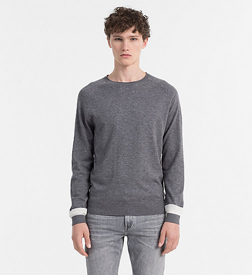 CALVINKLEIN Wool Cotton Sweater - QUIET SHADE HEATHER - CALVIN KLEIN KNITWEAR - main image