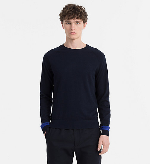 CALVINKLEIN Wool Cotton Sweater - TRUE NAVY - CALVIN KLEIN KNITWEAR - main image